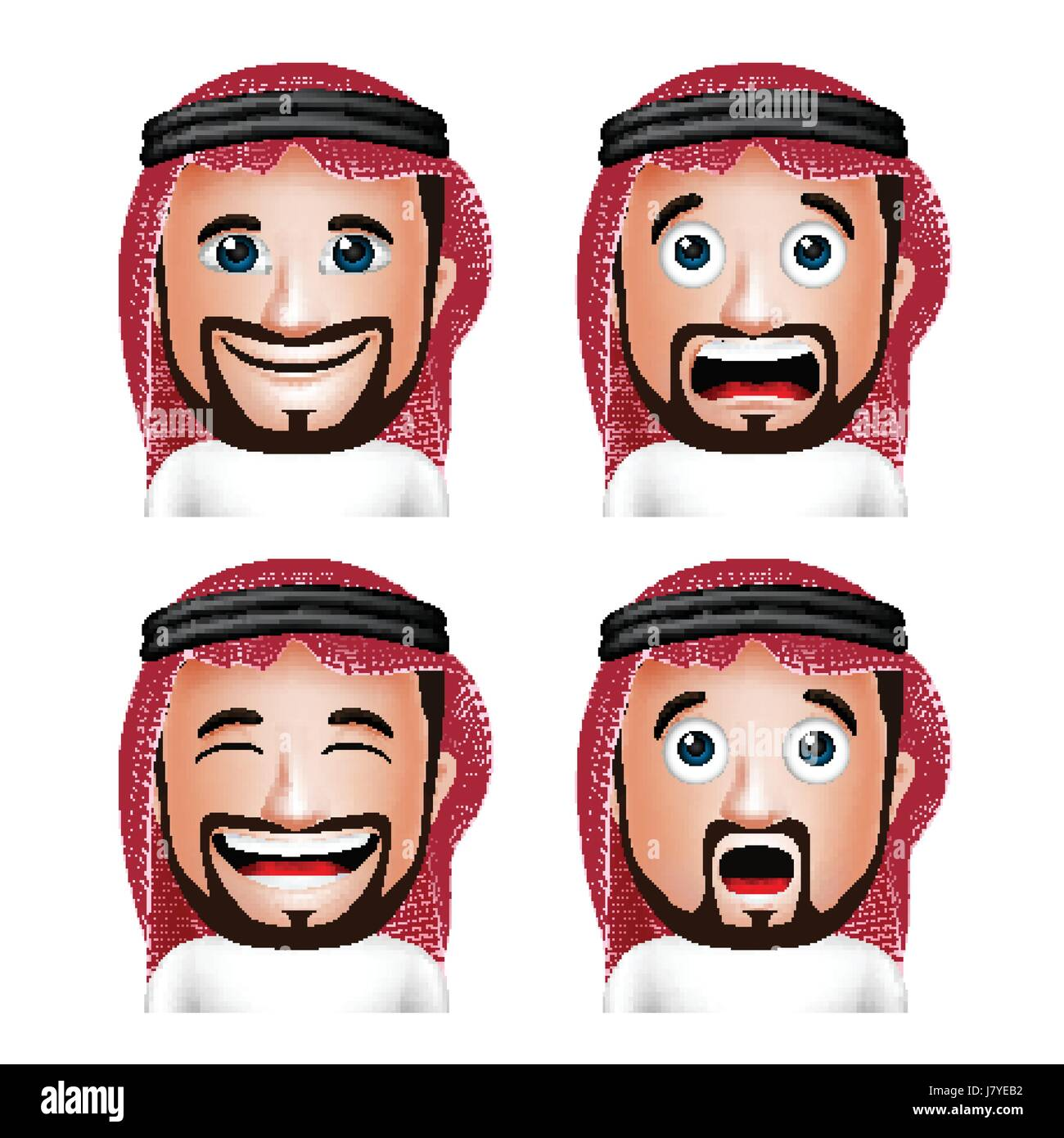 Vector Set of Realistic Saudi Arab Man Head with Different Facial Expressions Wearing Thobe Avatar Isolated in White - Stock Image