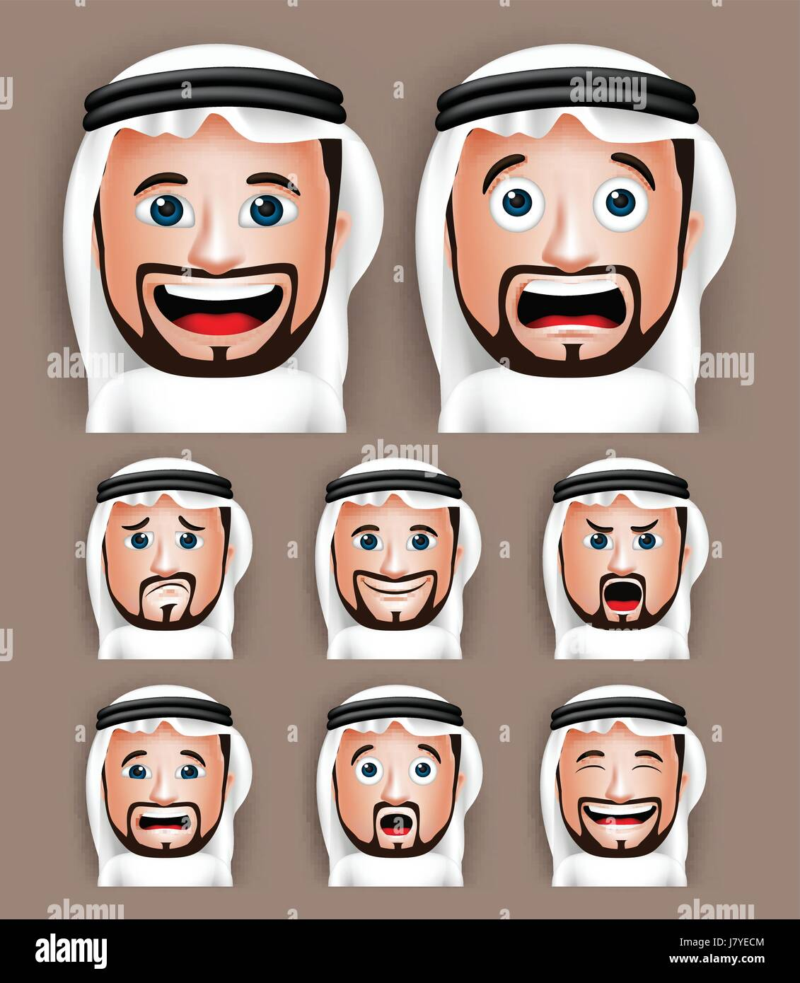 Vector Set of Realistic Saudi Arab Man Head with Different Facial Expressions Wearing Thobe Avatar. Editable Vector - Stock Image