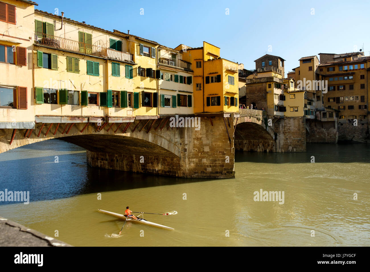 Ponte Vecchio over river Arno, Florence, Tuscany, Italy - Stock Image
