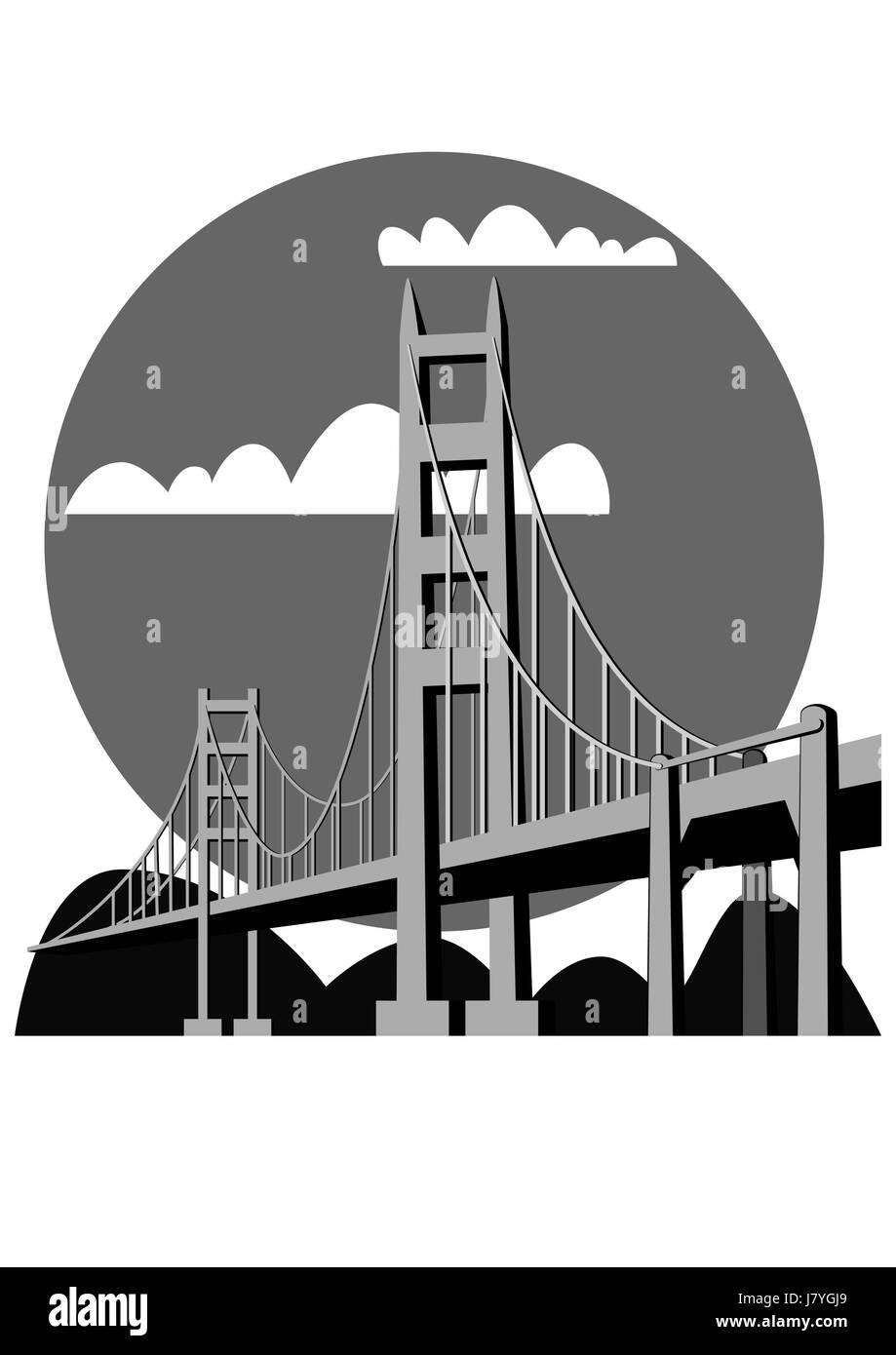 travel famous bridge tourism landmark logo travel city town monument model - Stock Image