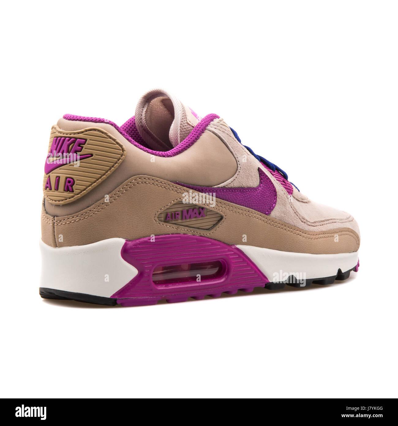 Nike WMNS Air Max 90 LTHR Women s Leather Running Desert Purple-Khaki  Sneakers - 768887-200 e60d61597f