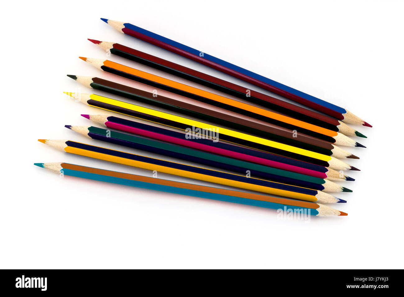 Multicolored pencils isolated on white background - Stock Image