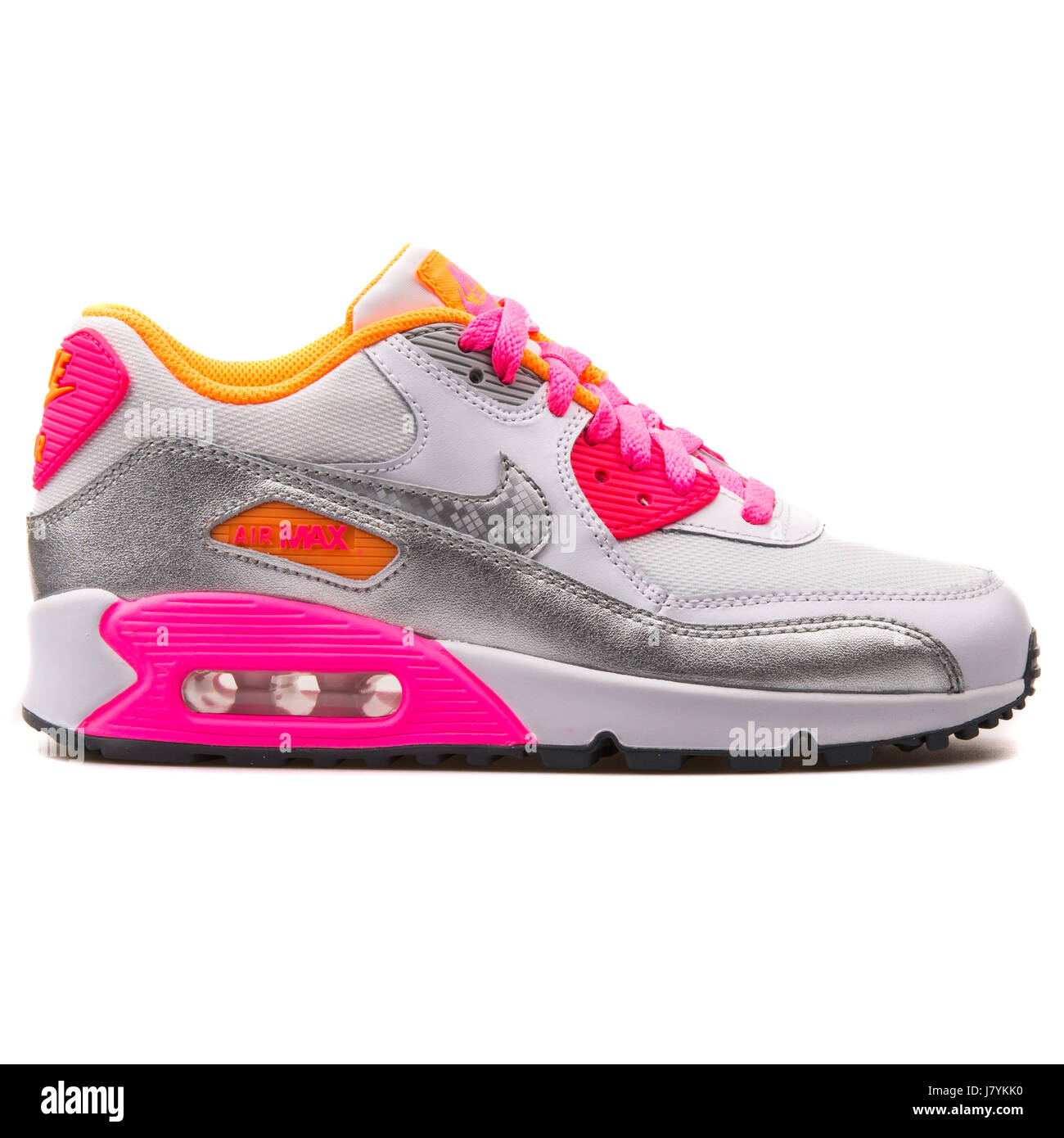 new concept 11269 6ad57 Nike Air Max 90 Mesh (GS) Youth White, Silver and Pink Running Sneakers