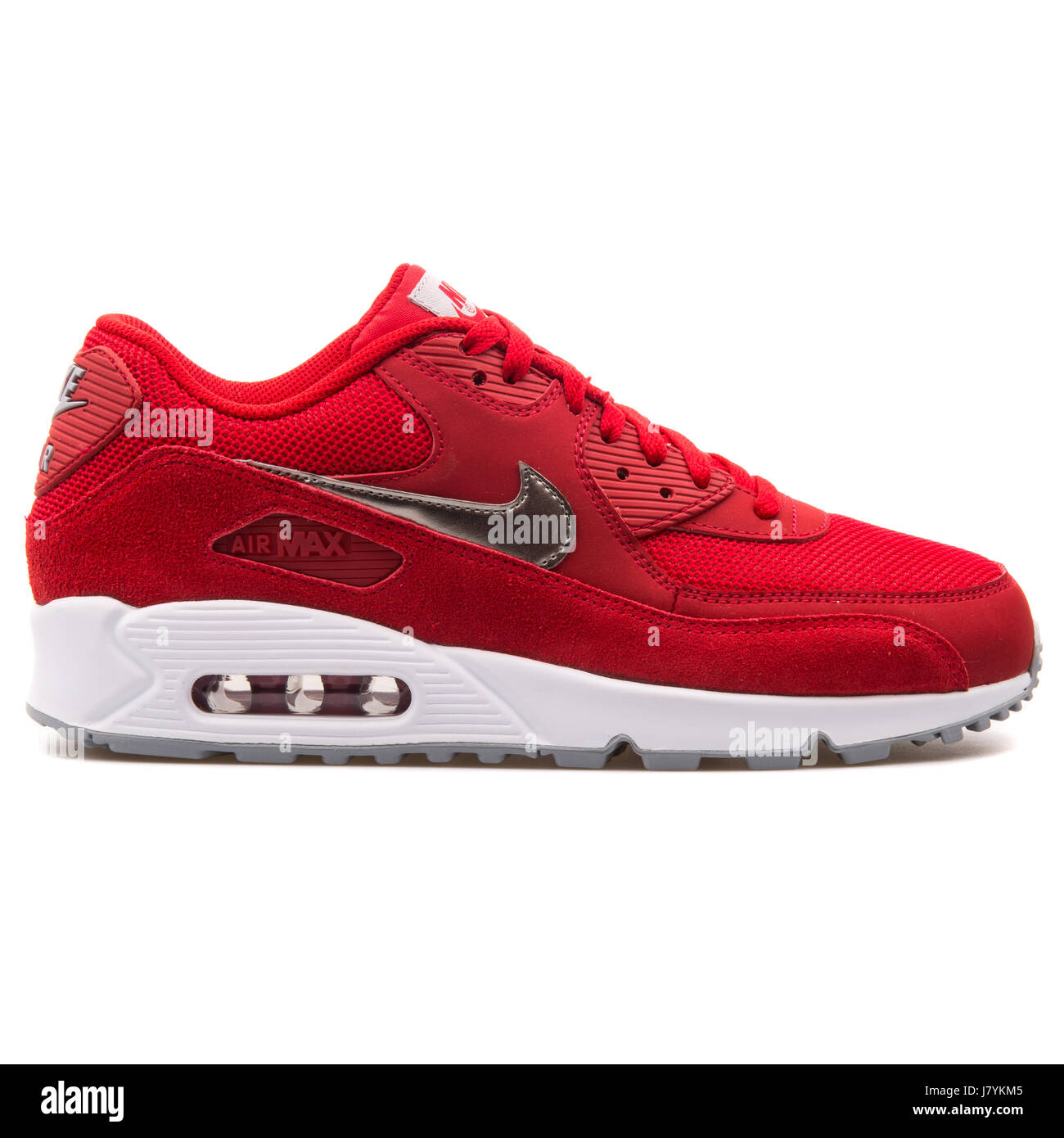 05cd4a35 Nike Air Max 90 Essential Red Men's Running Sneakers - 537384-602 ...