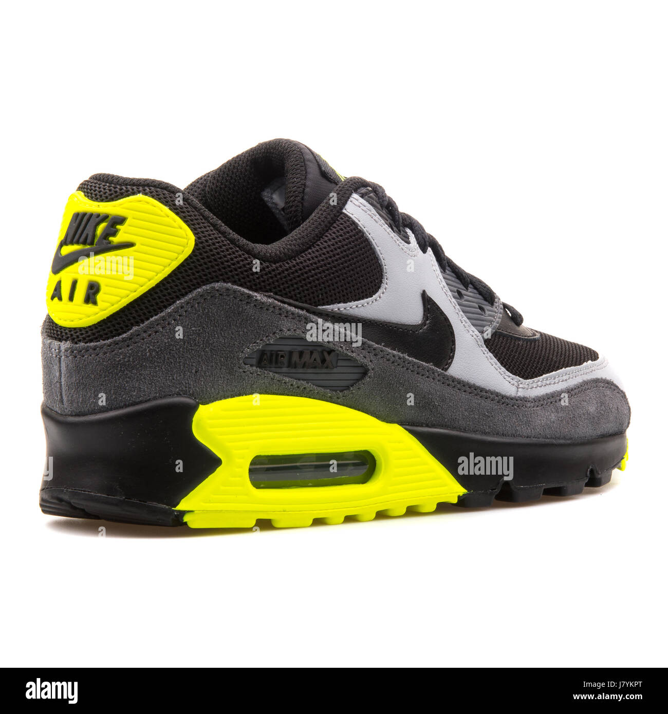 Nike Air Max 90 Mesh (GS) Youth Black Grey and Yellow Leather ...