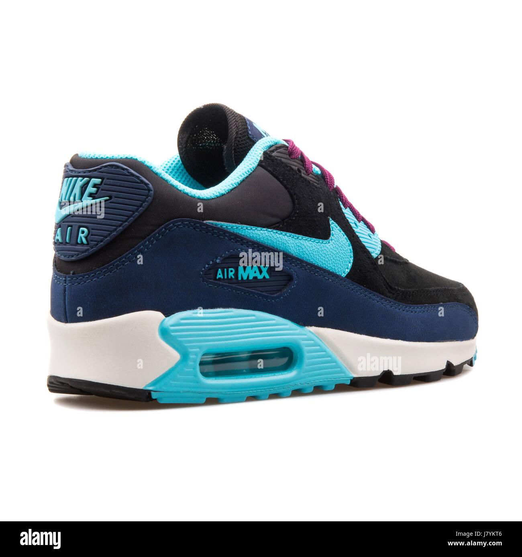 promo code db2d3 93dfc Nike WMNS Air Max 90 LTHR Black Blue Women's Running ...