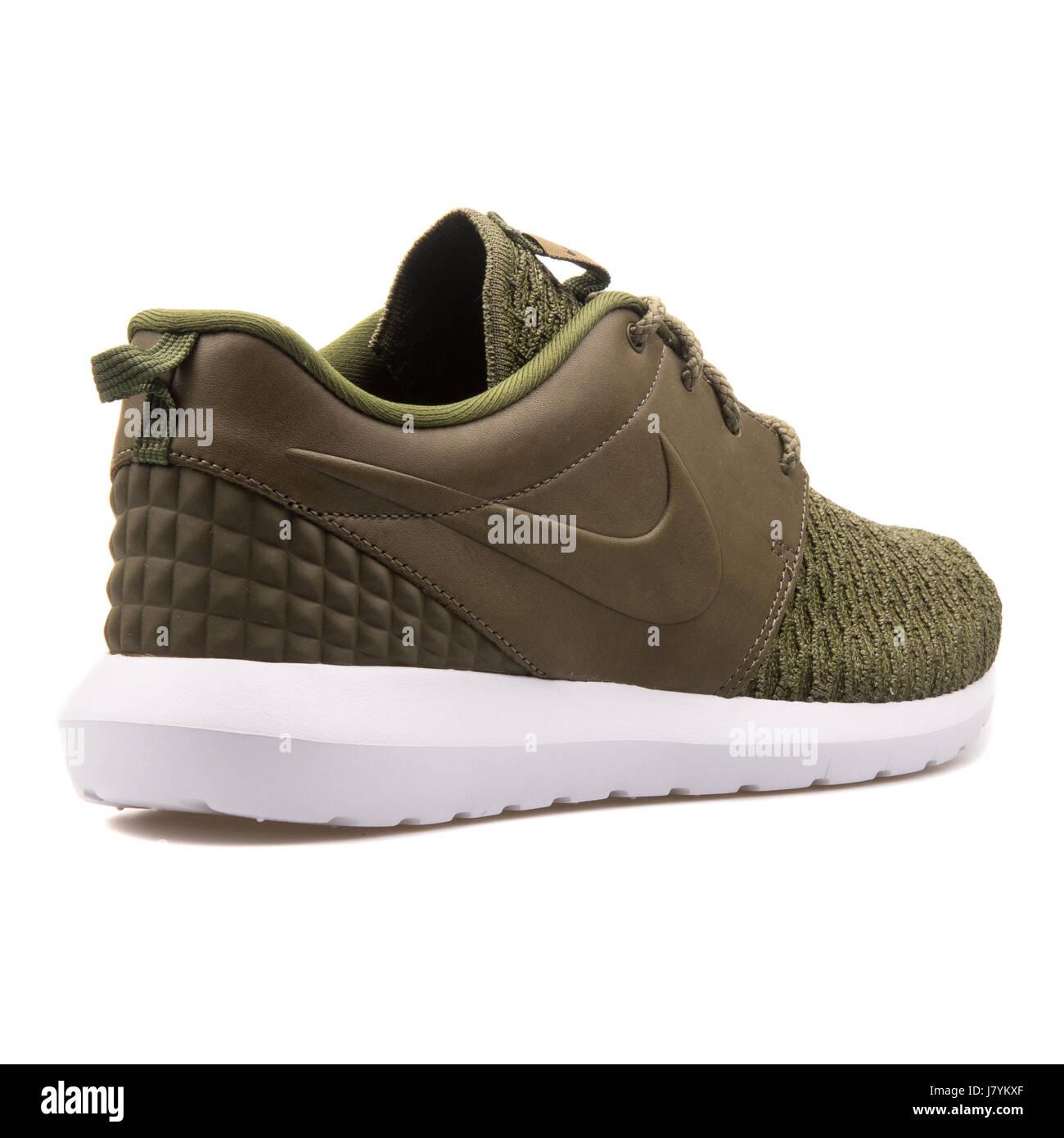 new arrivals cbd8b cb149 Nike Roshe NM Flyknit PRM Green Men s Running Sneakers - 746825-300 - Stock  Image
