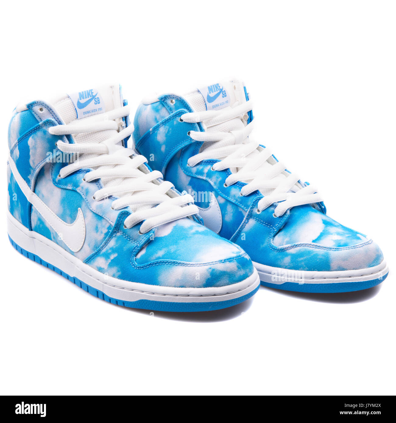 768fe31f Nike Dunk High Pro SB Clouds Blue Pattern - 305050-414 Stock Photo ...