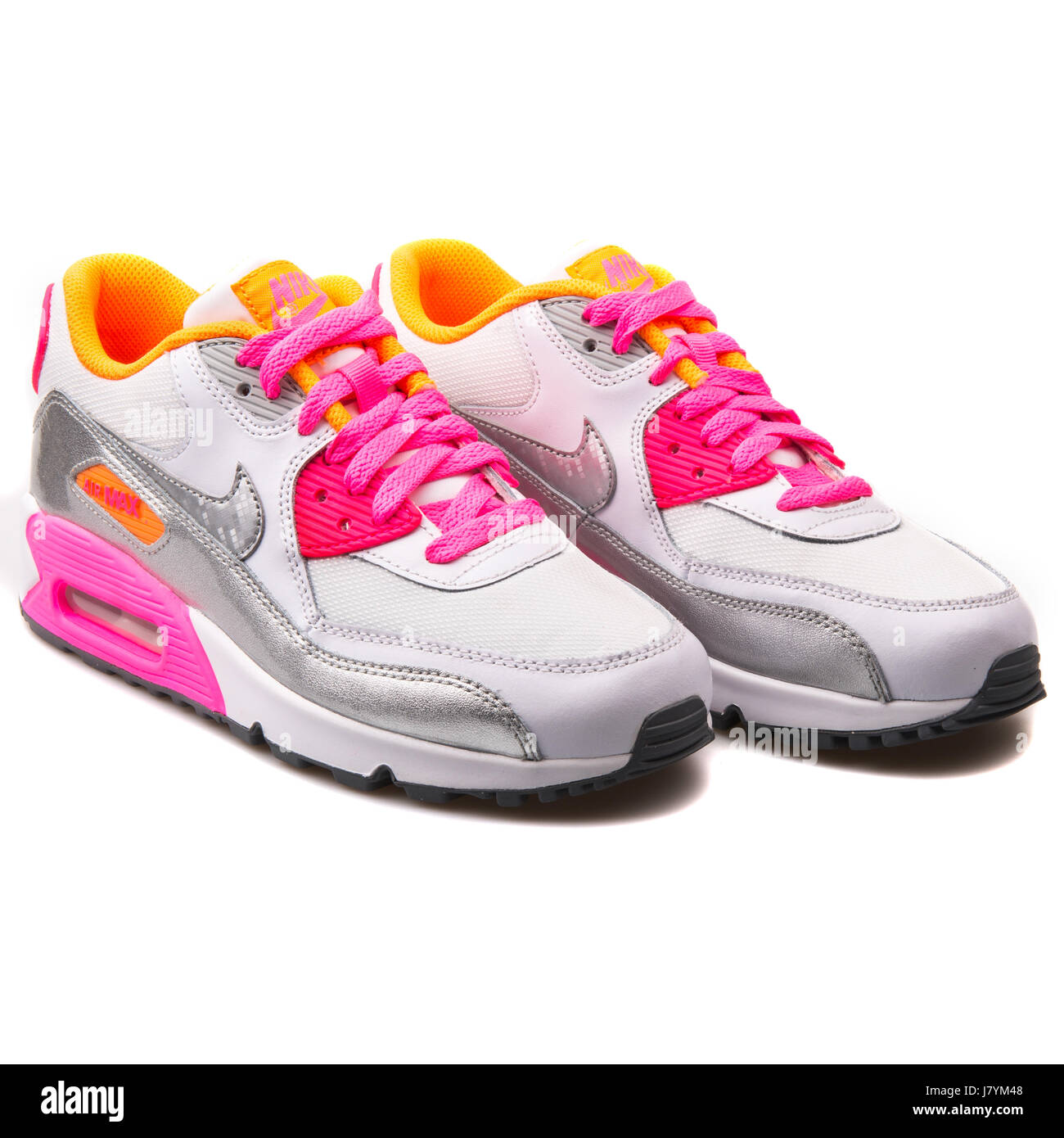 a48df332 Nike Air Max 90 Mesh (GS) Youth White, Silver and Pink Running Sneakers -  724855-101