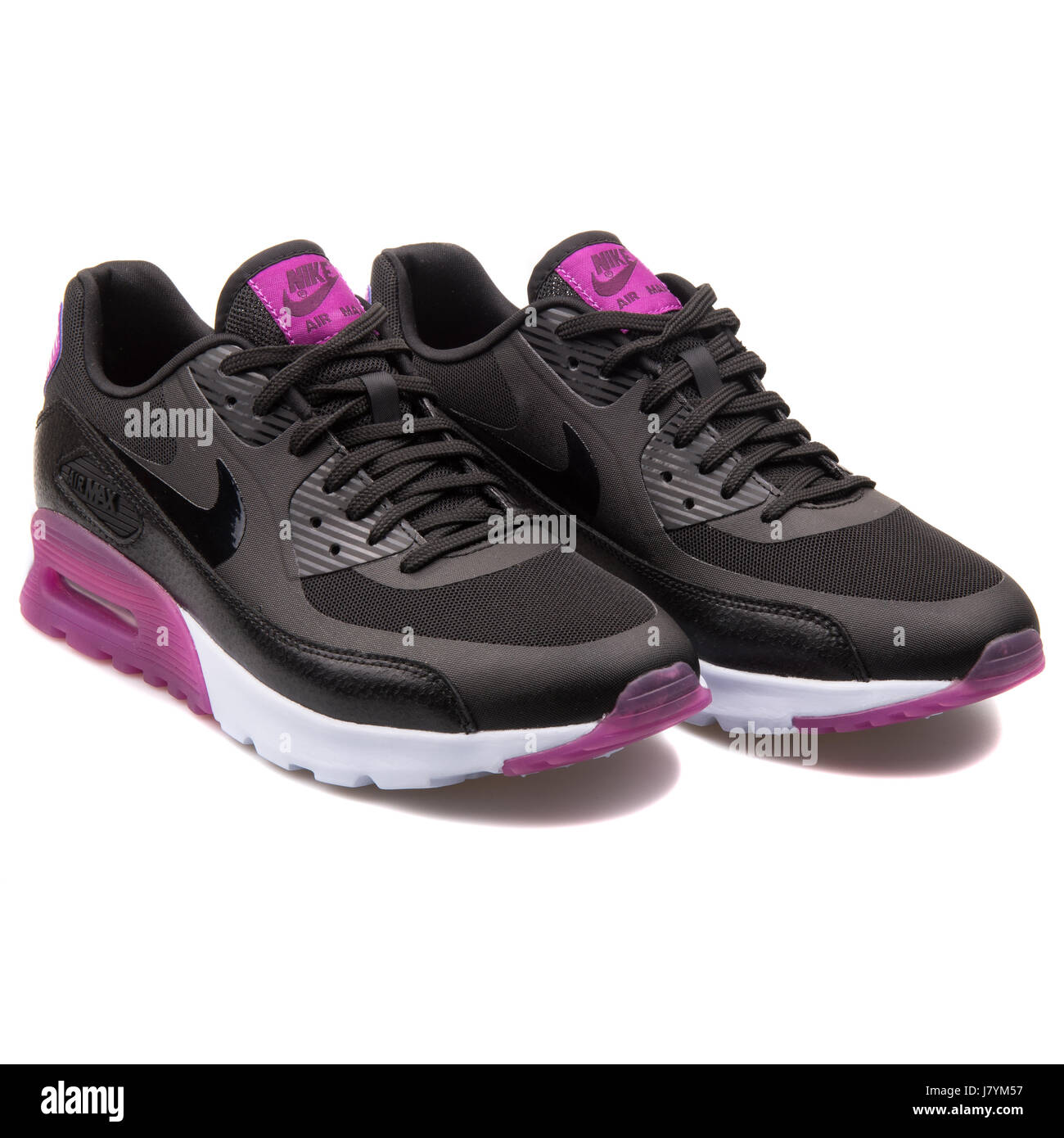 brand new 308d4 80e78 Nike W Air Max 90 Ultra Essential Women's Black and Purple Running Sneakers  - 724981-003