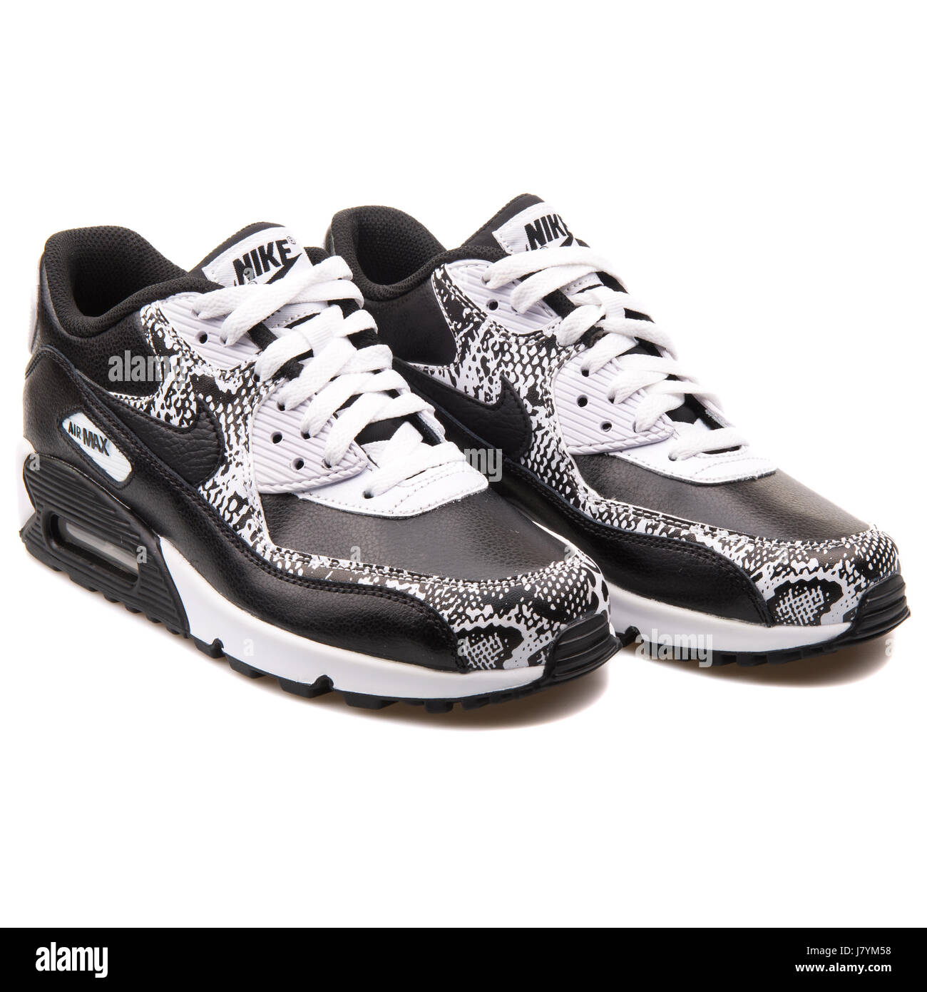 newest 7ec52 28e65 Nike Air Max 90 Premium LTR (GS) Youth Black and White Running Sneakers -  724871-001