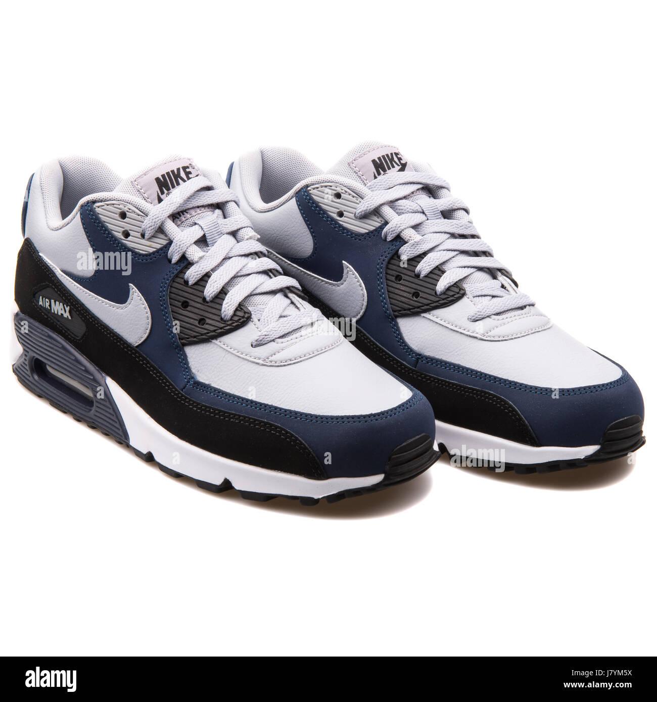 Nike Air Max 90 LTR Grey Navy Blue Men Sports Sneakers ...