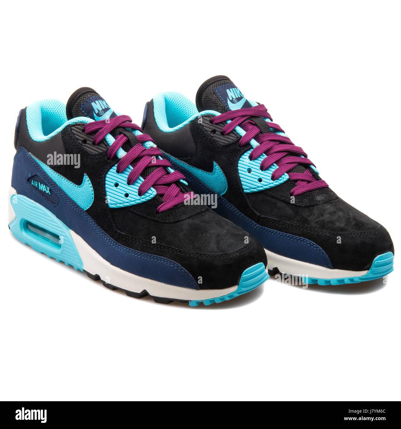 Nike WMNS Air Max 90 LTHR Black Blue Women s Running Sneakers - 768887-400 7c03710b235
