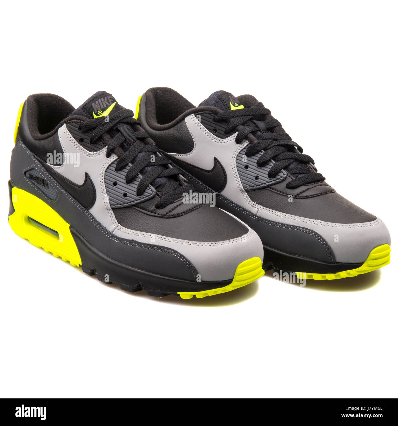 3c16bfb9 Nike Air Max 90 LTR Black Grey and Yellow Men Sports Sneakers - 652980-007
