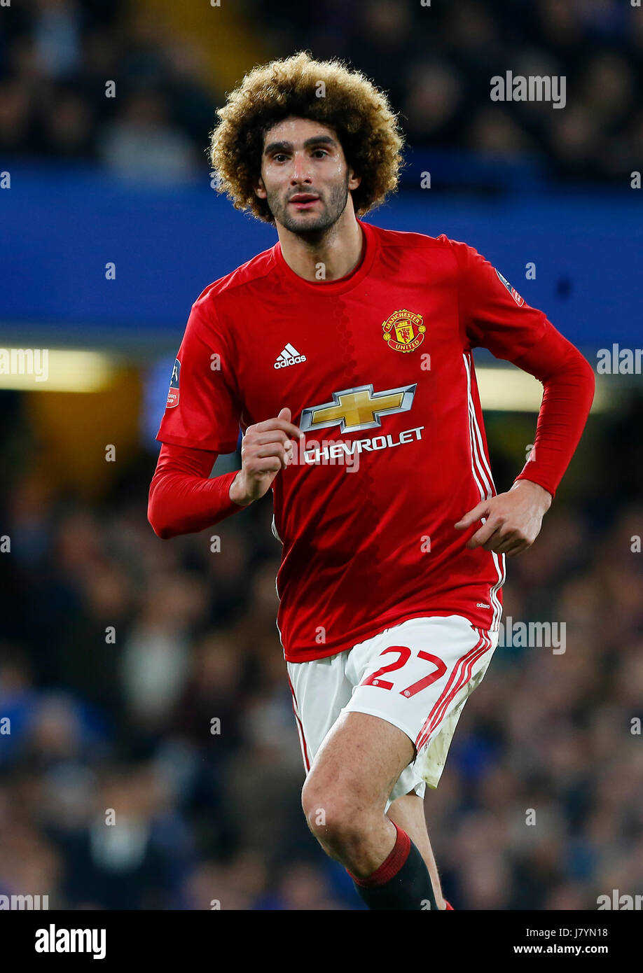 f8efb668788 Marouane Fellaini of Manchester United during the FA Cup match between  Chelsea and Manchester United at Stamford Bridge in London. March 13