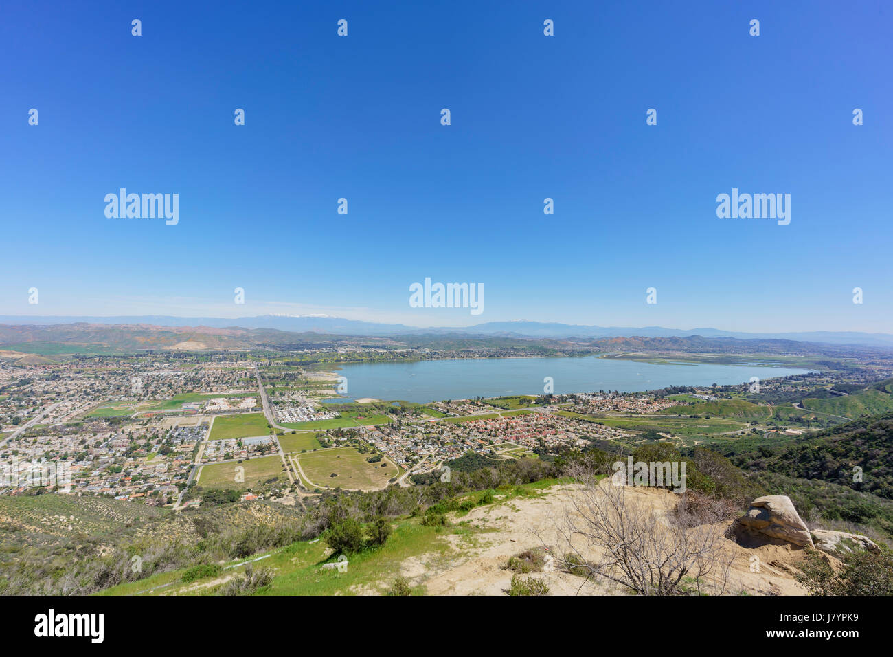 Aerial view of Lake Elsinore and the cityscape, California - Stock Image