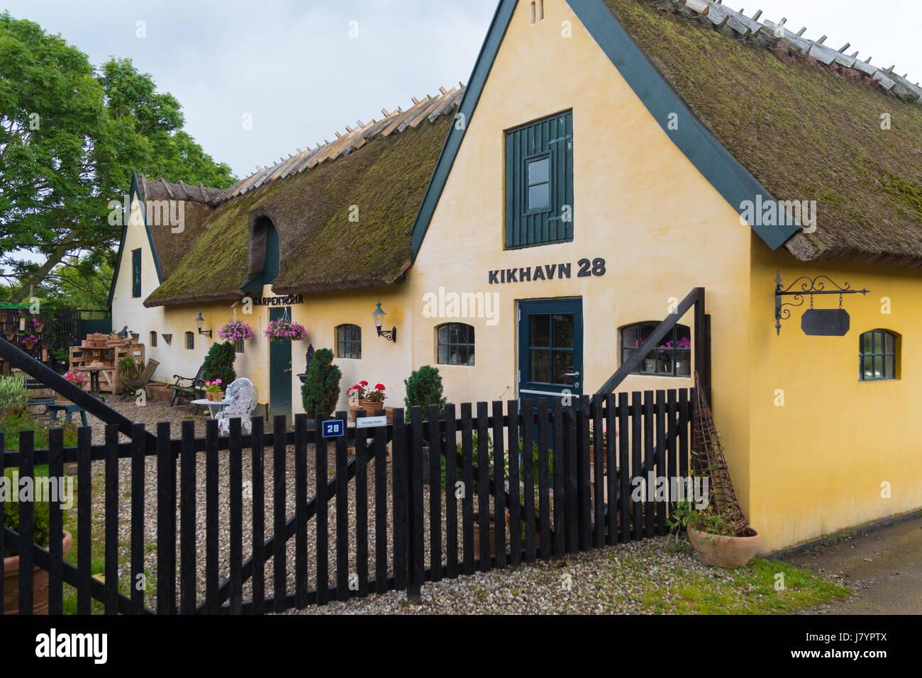 KIKHAVN, DENMARK - AUGUST 4, 2016: Typical danish house in the old fishermen's village of Kikhavn - Stock Image