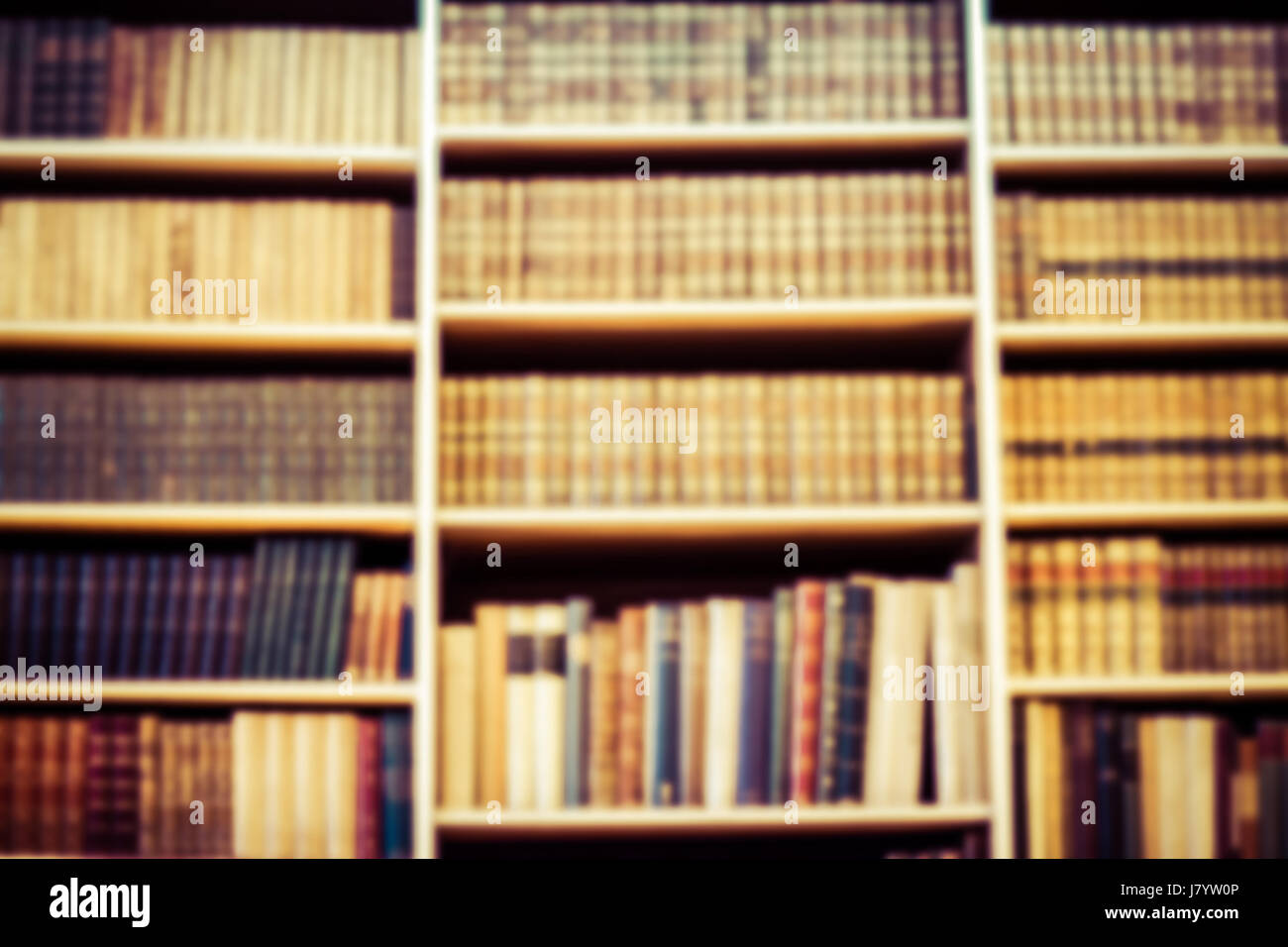 Blurred Background Bookshelf Full Of Books Concept Library
