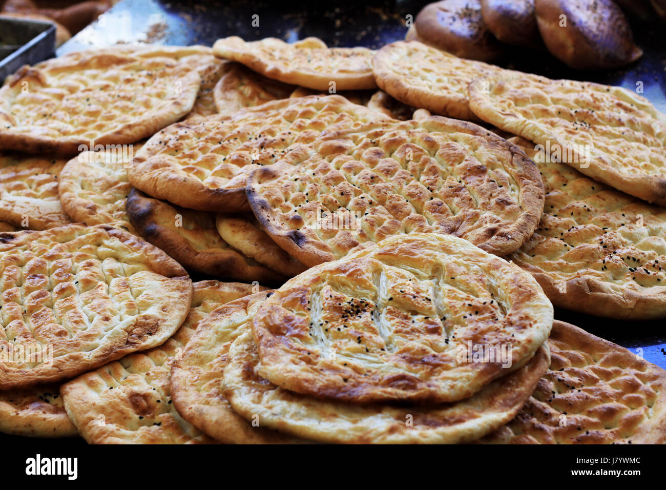 Fresh baked flatbread - Stock Image