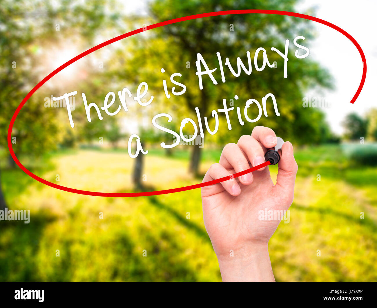Man Hand writing There is Always a Solution with black marker on visual screen. Isolated on nature. Business, technology, - Stock Image