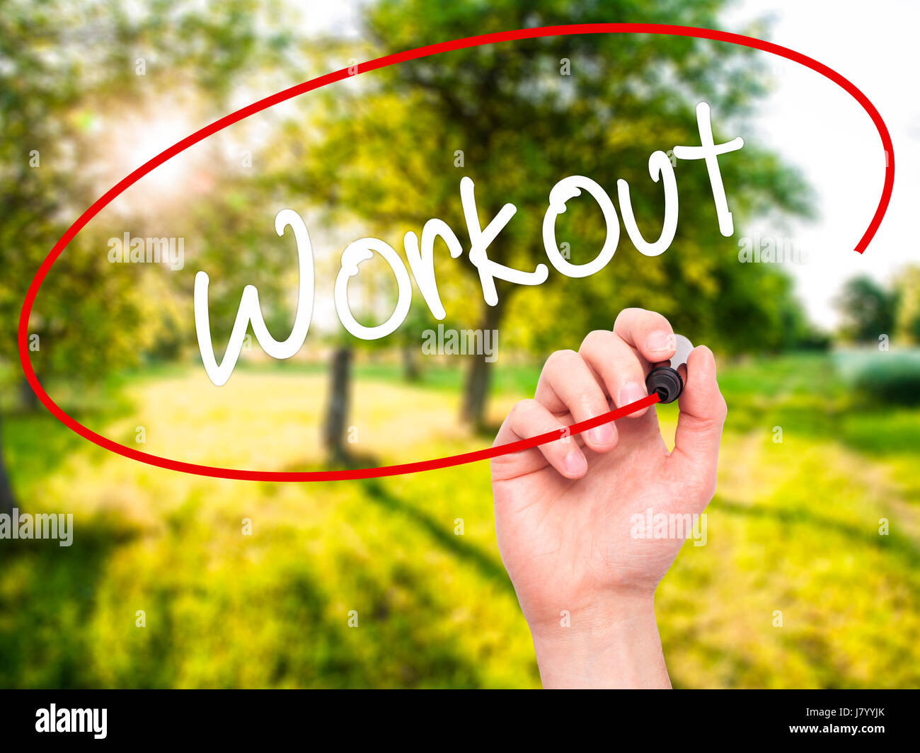 Man Hand writing Workout   with black marker on visual screen. Isolated on nature. Business, technology, internet Stock Photo