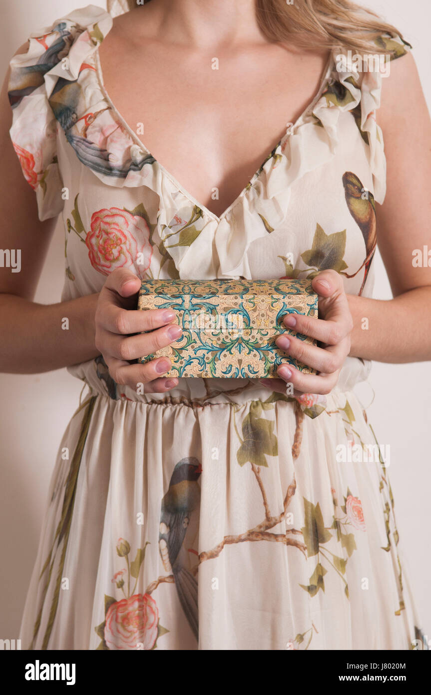 Woman holding old jewelry box - Stock Image