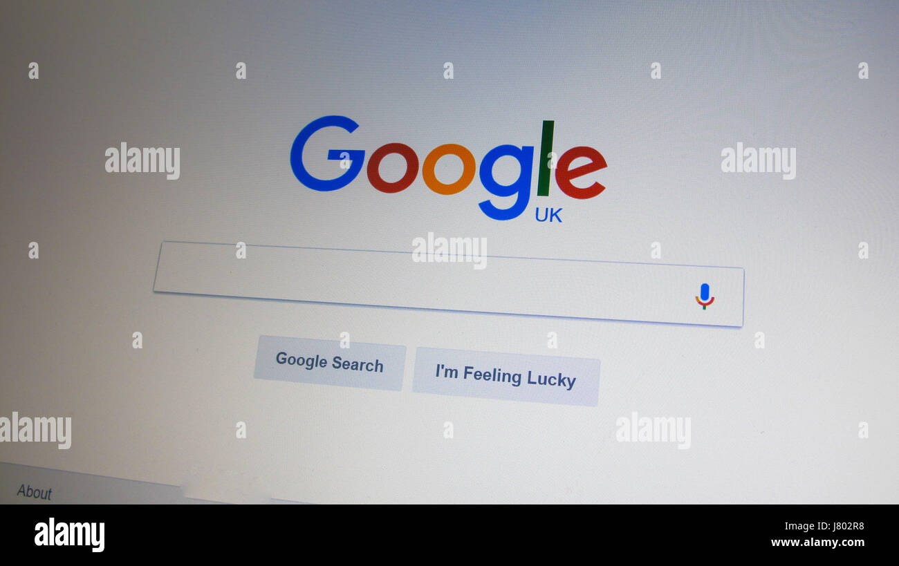 Google search engine home page on the Internet. London, England, United Kingdom - Stock Image