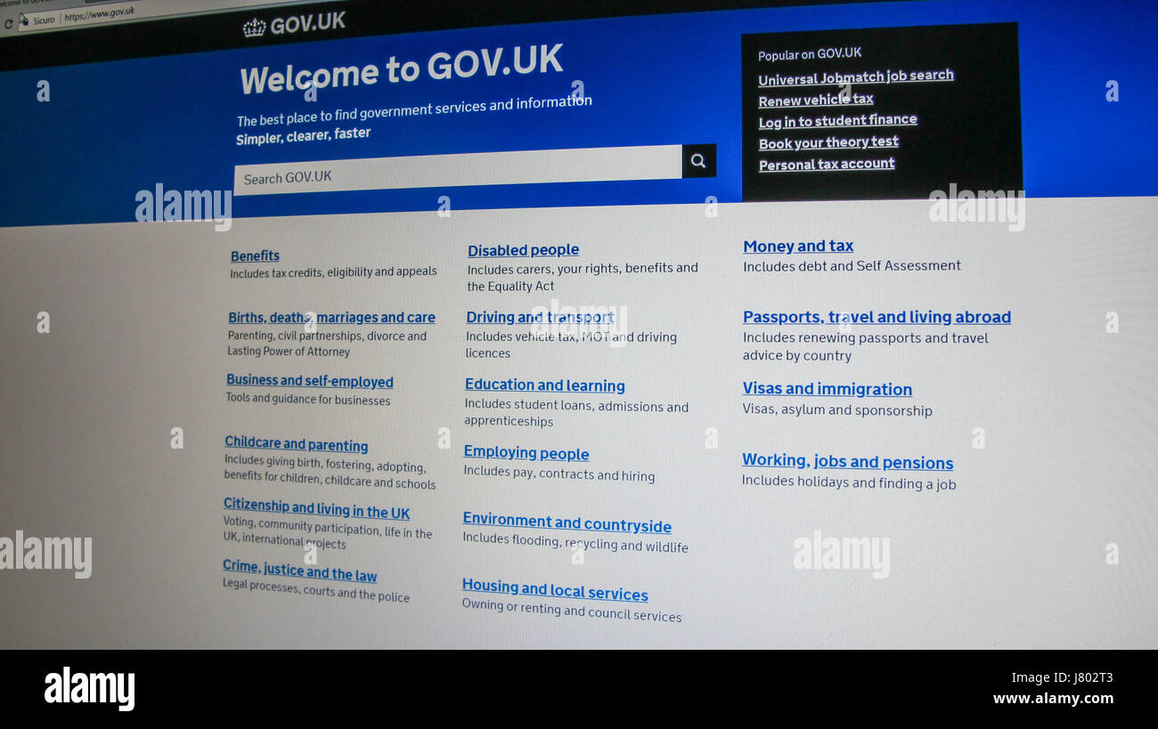 UK Government Website / web page on a PC screen - Stock Image