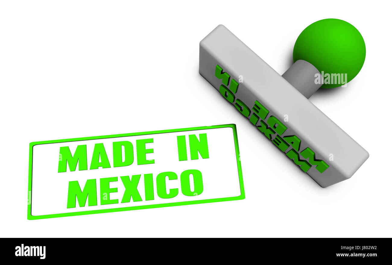 Made in Mexico Stamp or Chop on Paper Concept in 3d - Stock Image