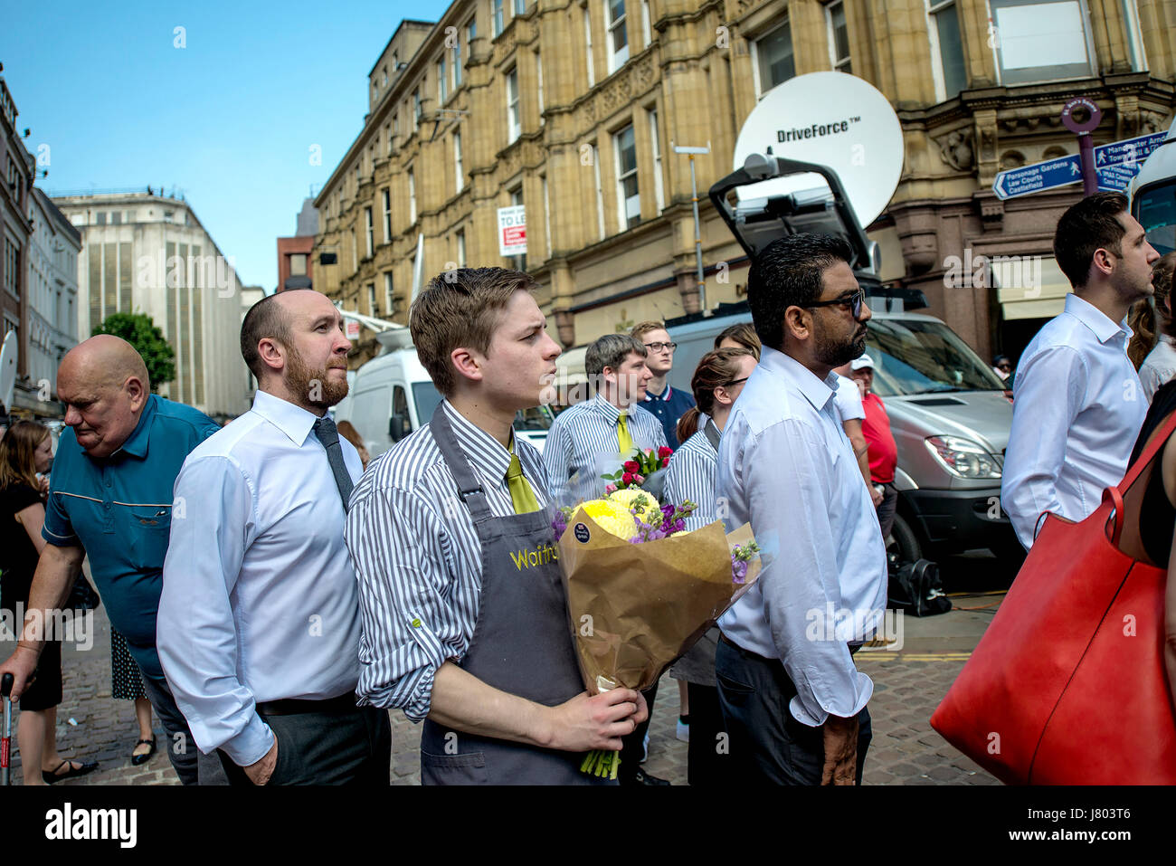 Scene from the Minutes Silence for the Victims of the Manchester Terror Attack - Stock Image