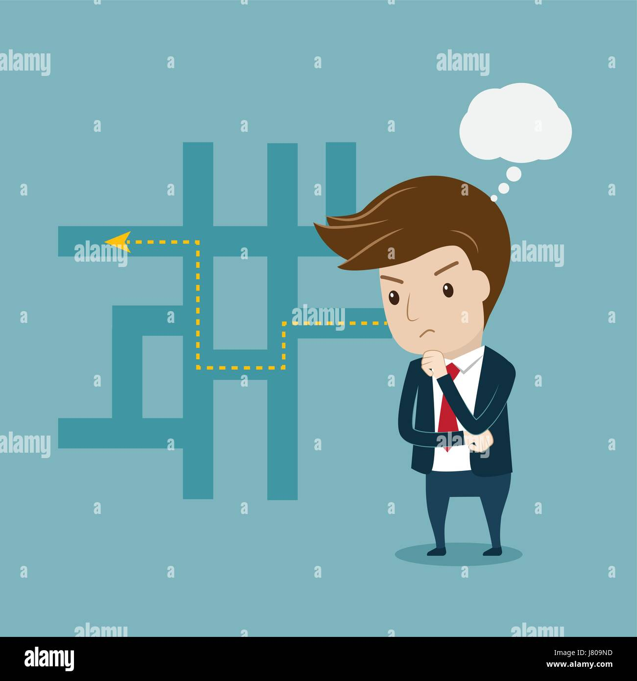 Businessman thinking of his best plans. Flat style vector for thinking, planning or solution concept. - Stock Vector