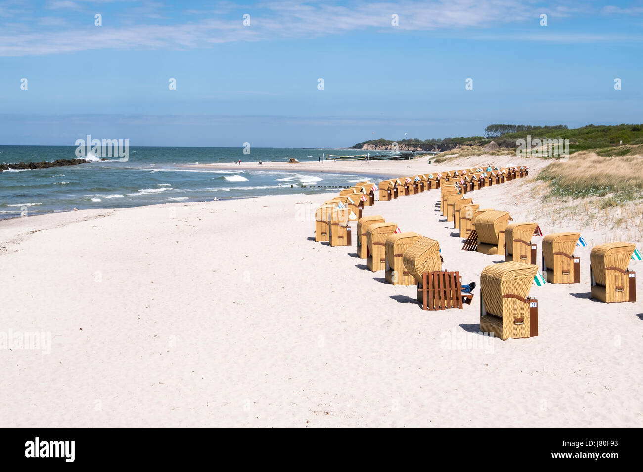 Wustrow Beach with beach chairs, Mecklenburg-Vorpommern, Germany - Stock Image