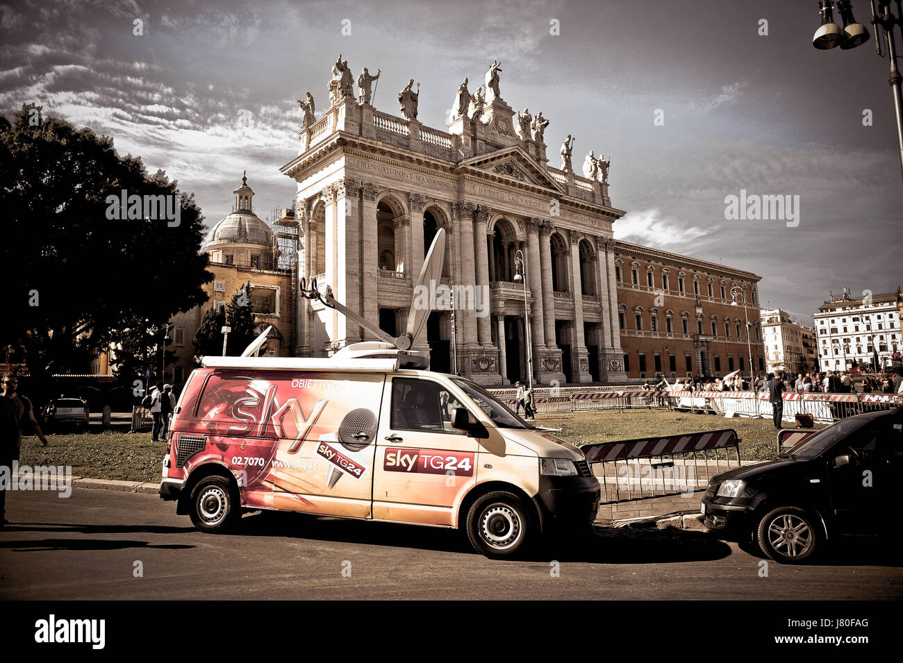 757681849bec Sky Television - Satellite dish mounted on the roof of mobile television  station in Rome
