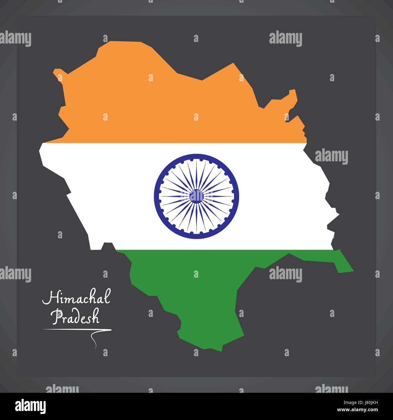 Himachal Pradesh map with Indian national flag illustration - Stock Vector