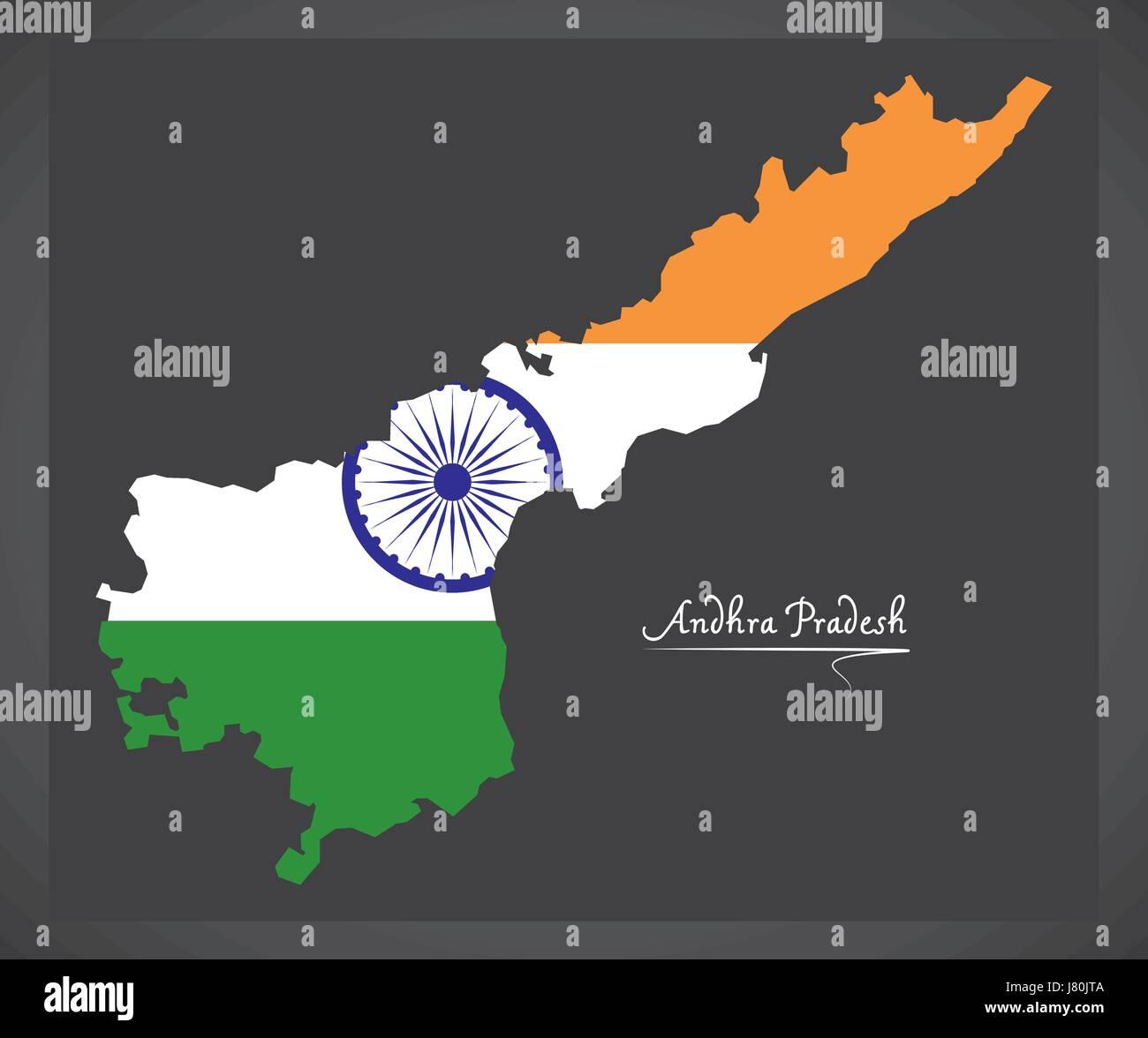 Andhra Pradesh map with Indian national flag illustration Stock ...