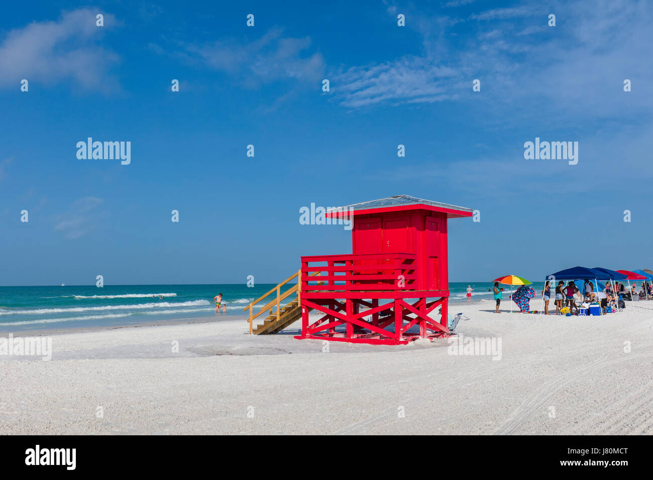 Red Lifeguard tower Siesta Key Beach number 1 beach in US on the Gulf of Mexico in Sarasota Florida - Stock Image
