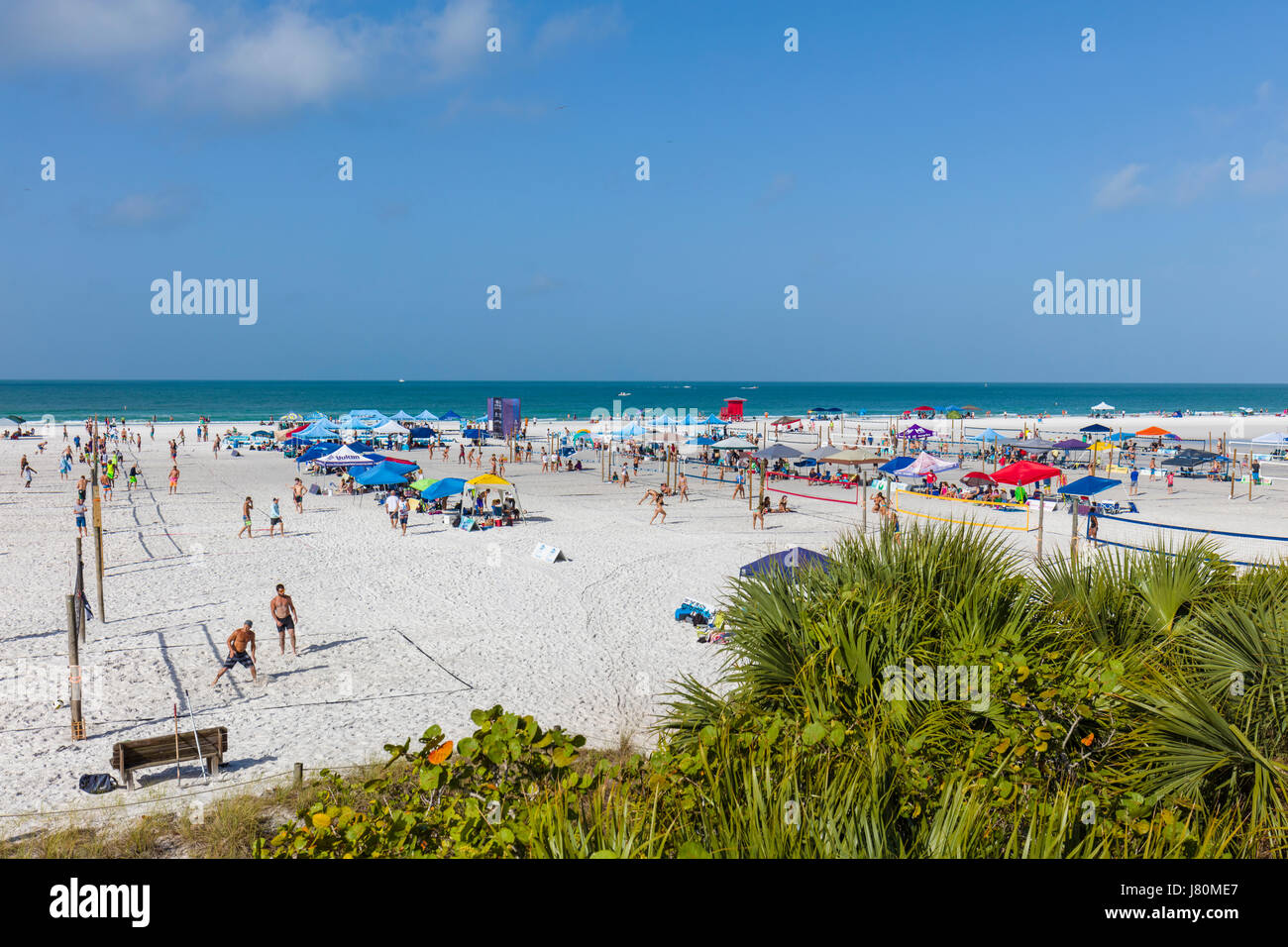 Dig the Beach Series volleyball tournament on Siesta Key Beach on the Gulf of Mexico in Sarasota Florida - Stock Image