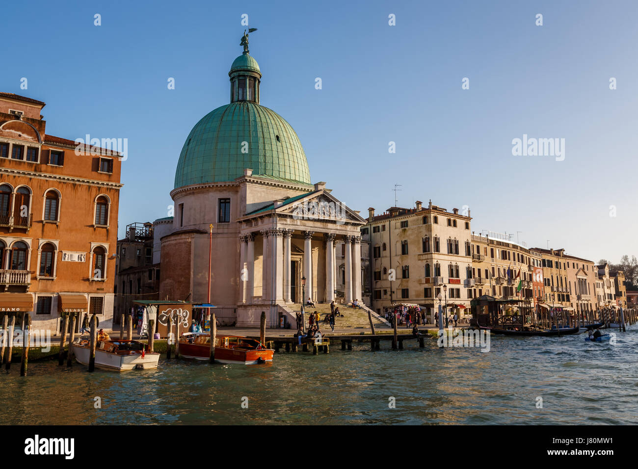 VENICE, ITALY - MARCH 7: A View of the Chiesa de San Simeone Piccolo and the Grand Canal on March 7, 2014 in Venice, - Stock Image