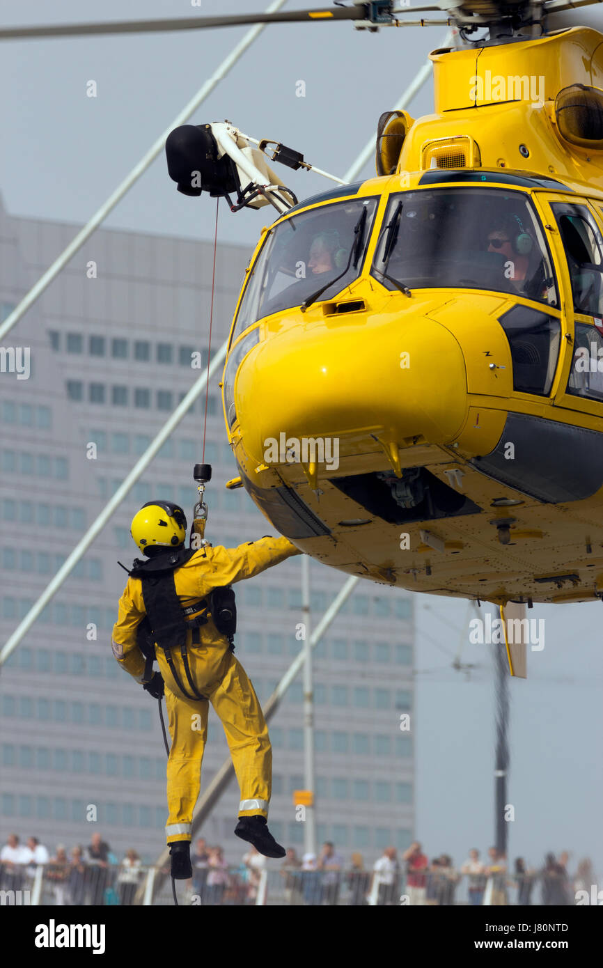 ROTTERDAM, NETHERLANDS - SEP 3, 2016: Eurocopter AS365 Daupin rescue helicopter from NHV-Noordzee Helikopters in - Stock Image