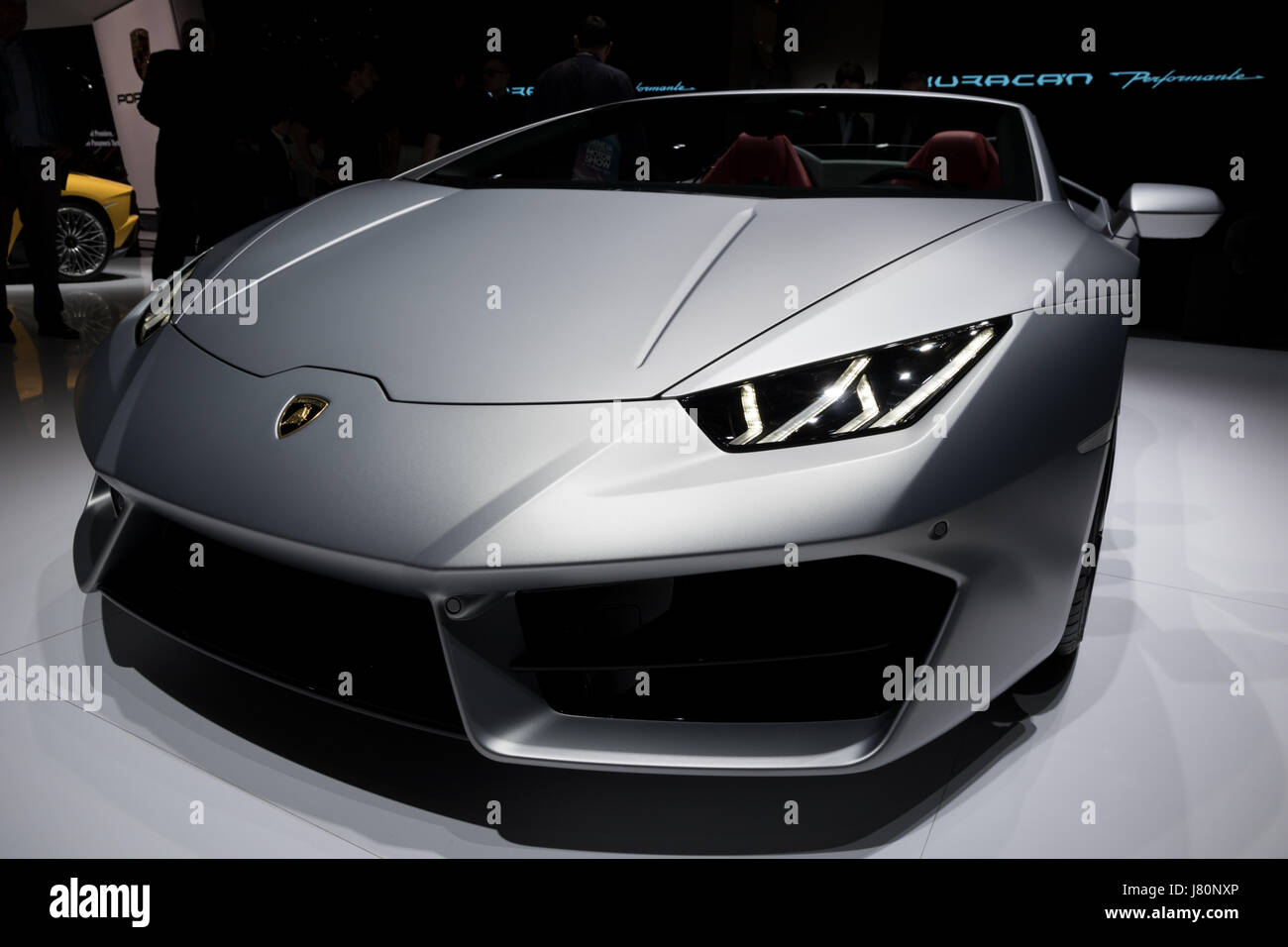 GENEVA, SWITZERLAND - MARCH 7, 2017: Lamborghini Huracan RWD Spyder sports car presented at the 87th Geneva International - Stock Image