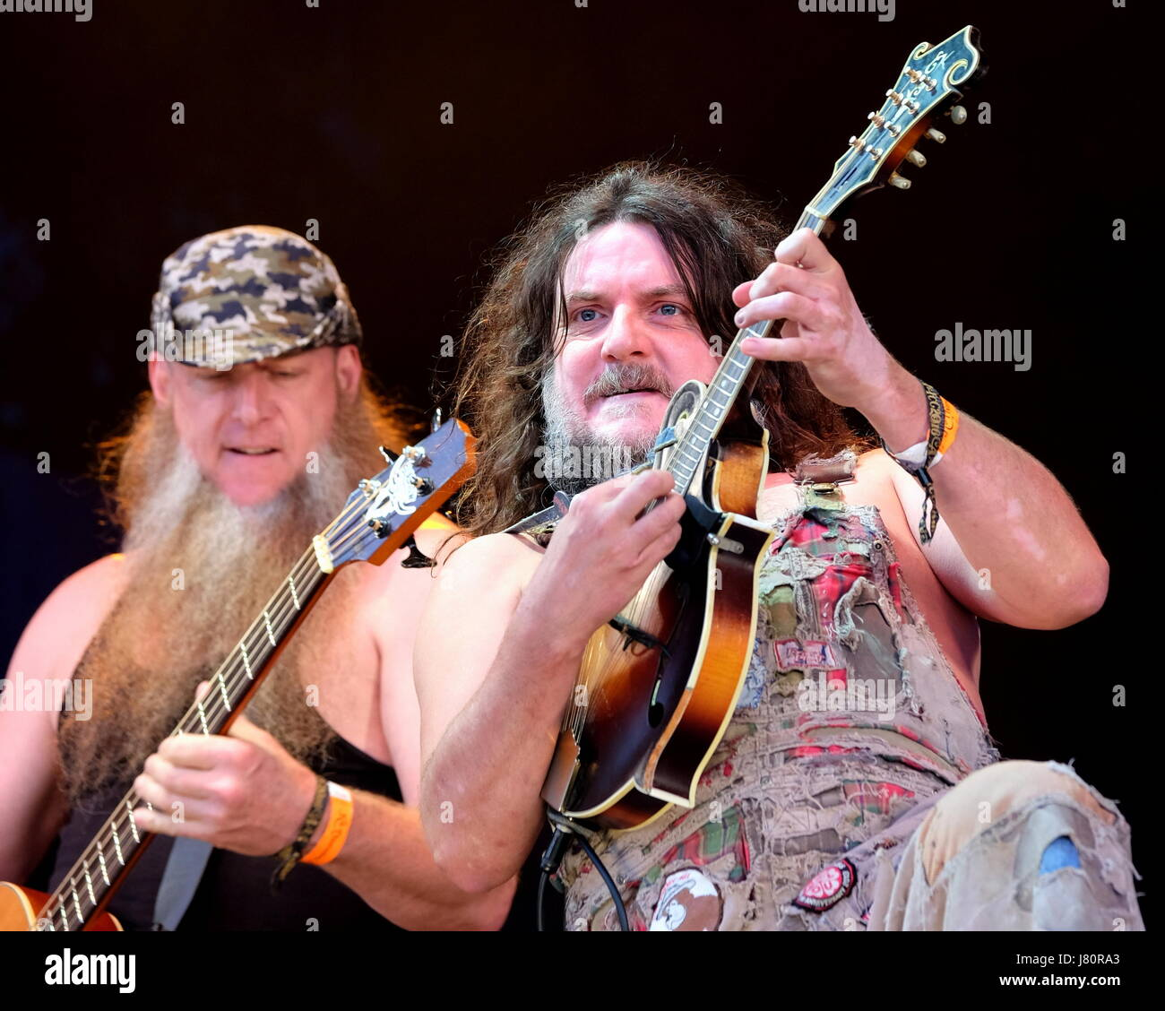 Fairport's Cropredy Convention, Banbury,  11th August 2016, UK, Hippy Joe Hymas with American  band Hayseed - Stock Image