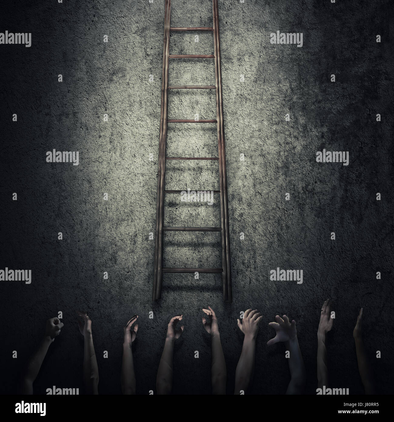 Abstract idea concept as a lot of human hands stretched out to reach a ladder and escape from a dark room prison. - Stock Image