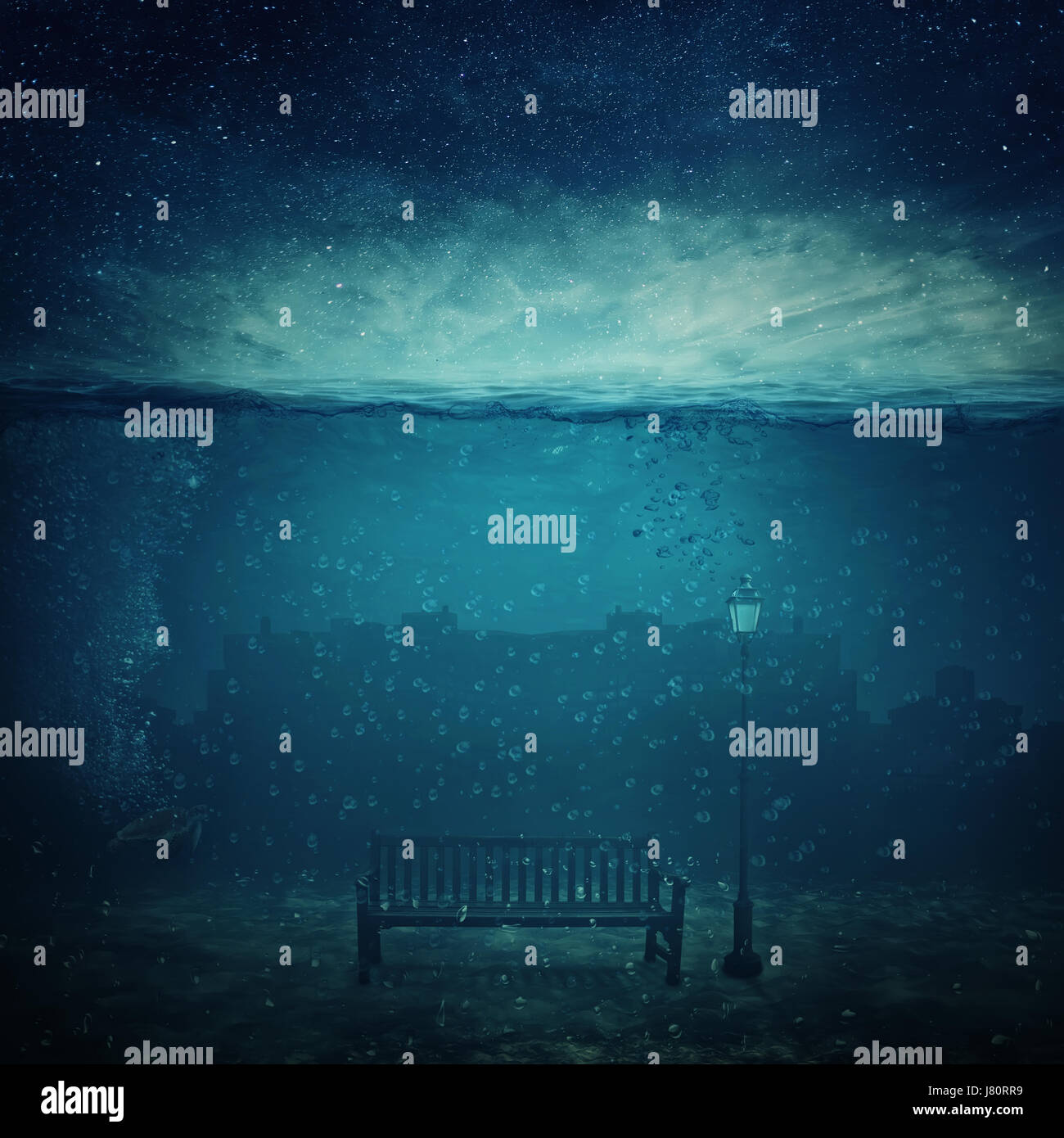 Underwater fantasy world. Modern city ruins under the sea and a wooden bench with a street lamp drowned. Adventure - Stock Image