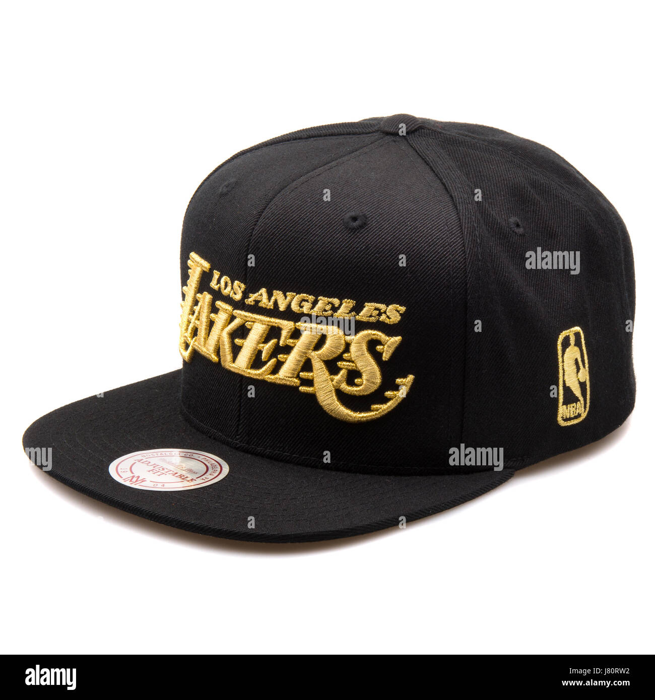 Mitchell   Ness Black and Gold Los Angeles Lakers Cap Stock Photo ... 5dceae8cd11