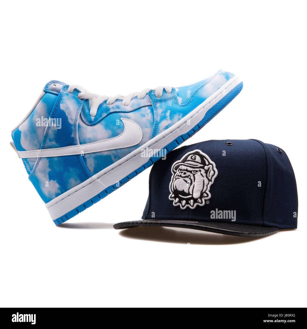 1397fc2023d Blue and White Nike Dunk Sneaker and Dark Blue Mitchell   Ness Georgetown  Hoyas Cap -