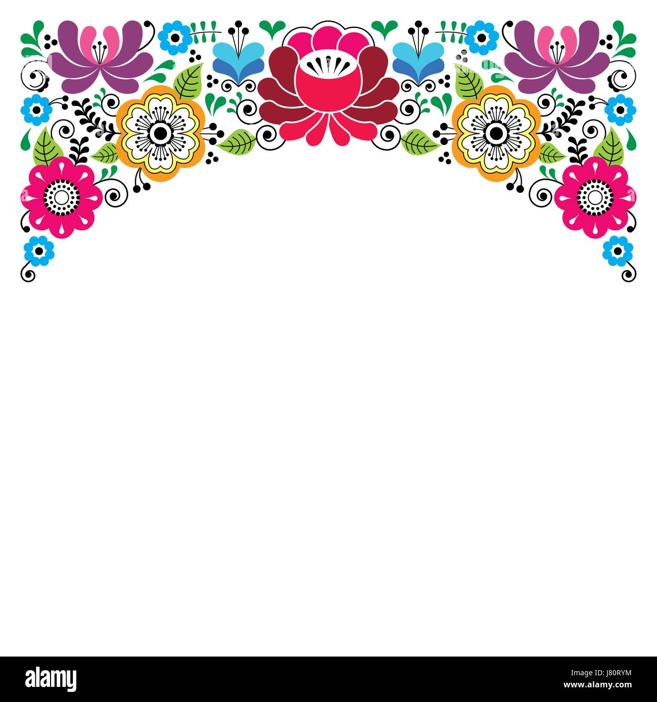 Russian Floral Pattern Colorful Composition Wedding