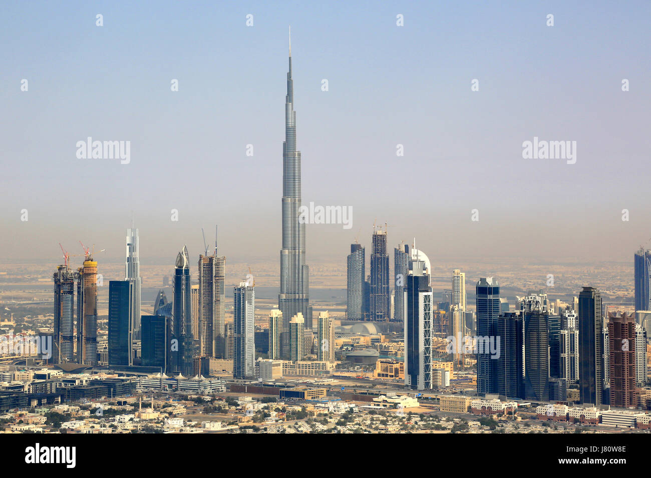 Dubai Burj Khalifa Downtown aerial view photography UAE Stock Photo