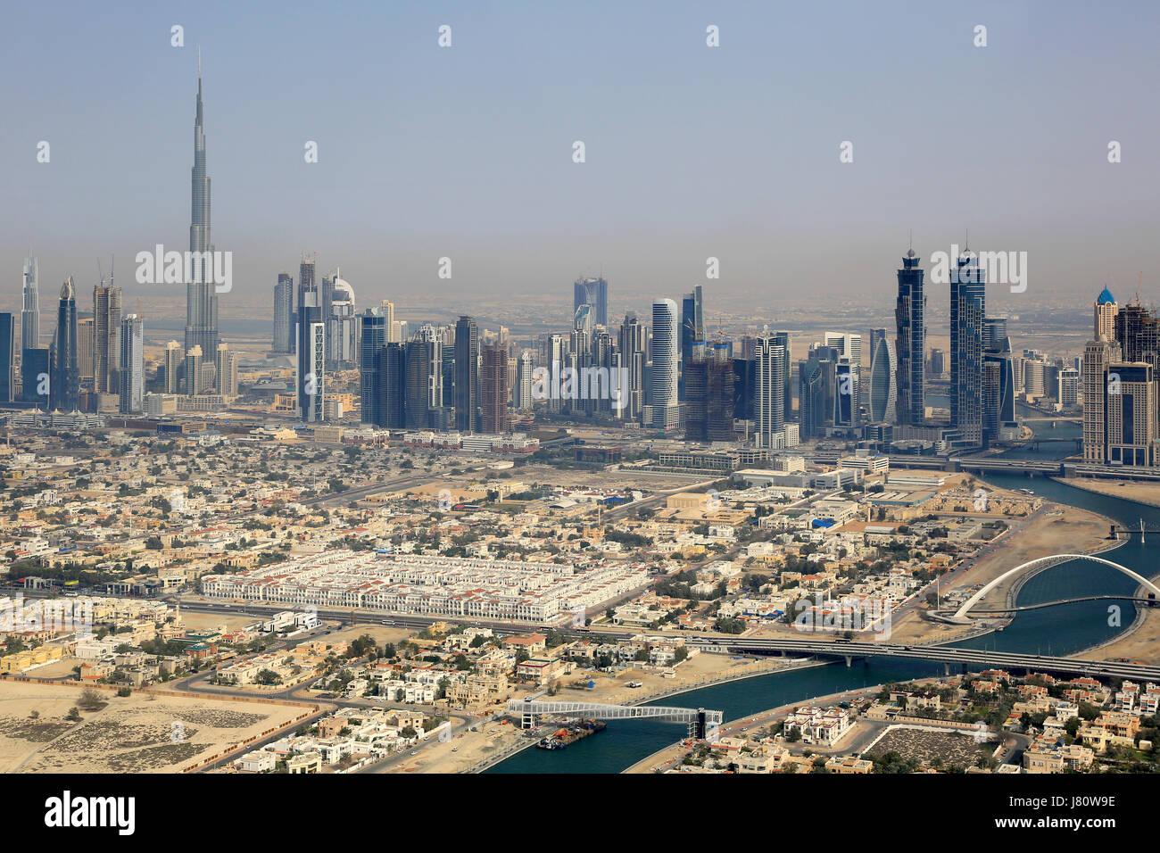 Dubai Downtown buildings with Burj Khalifa aerial view photography UAE - Stock Image