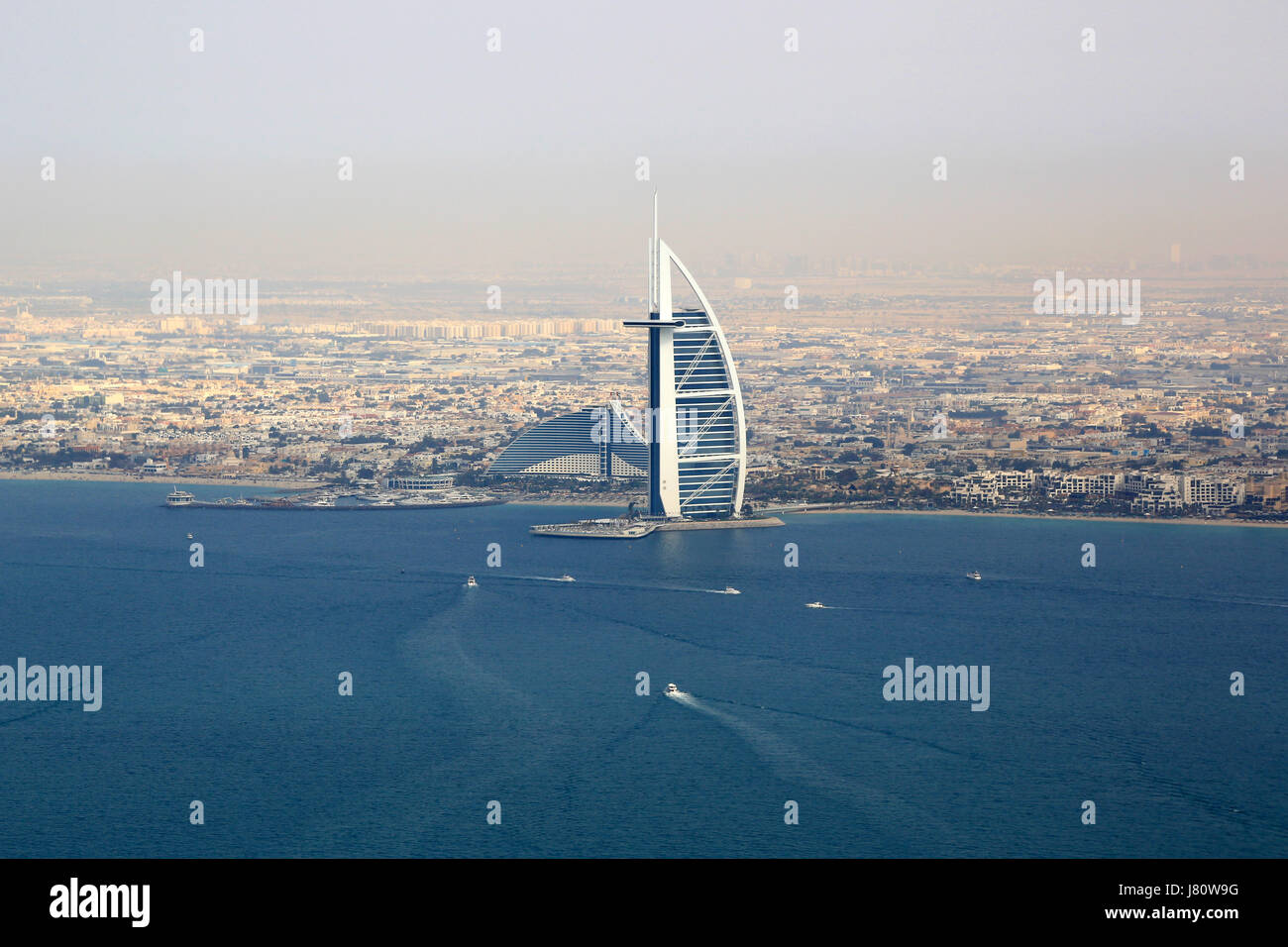 Dubai Burj Al Arab Hotel sea aerial view photography UAE - Stock Image