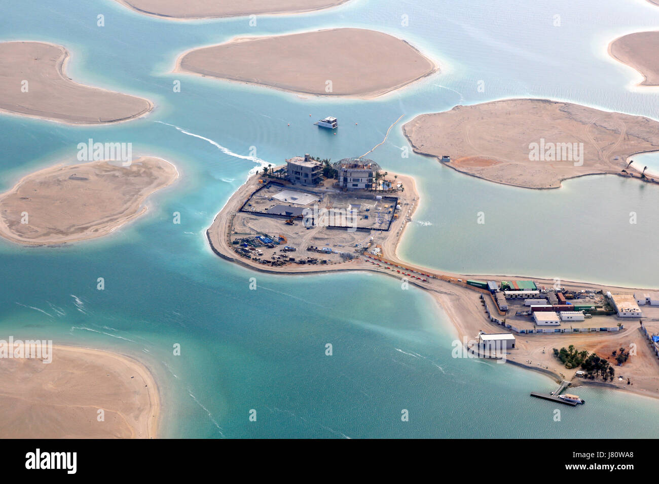 Dubai The World Islands Germany Austria Switzerland France Spain Netherlands Island aerial view photography UAE - Stock Image